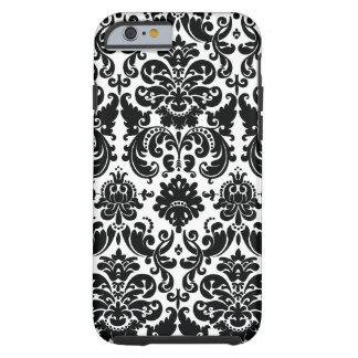 Motif blanc noir élégant de damassé coque iPhone 6 tough