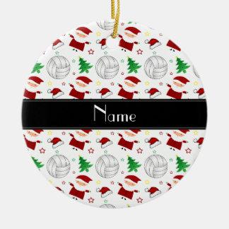 Motif blanc nommé fait sur commande de Noël de Ornement Rond En Céramique