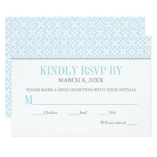 Motif bleu-clair de la carte   du baptême RSVP Carton D'invitation 8,89 Cm X 12,70 Cm