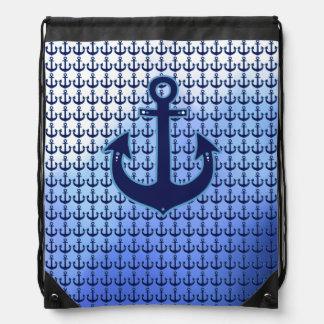 motif bleu d'ancre nautique de marin sacs à dos