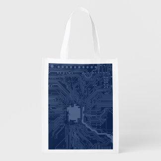 Motif bleu de circuit de carte mère de geek cabas épicerie