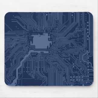 Motif bleu de circuit de carte mère de geek tapis de souris
