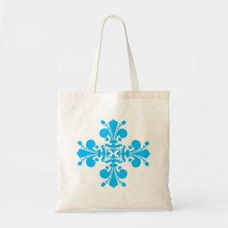 Motif bleu de damassé de fleur de lis sac en toile budget