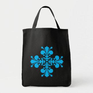 Motif bleu de damassé de fleur de lis sur le noir sac en toile épicerie