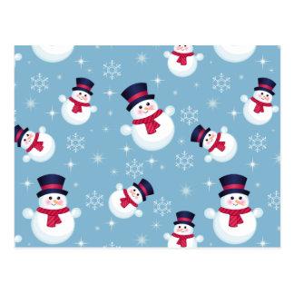 Motif bleu de Noël avec des bonhommes de neige et Carte Postale