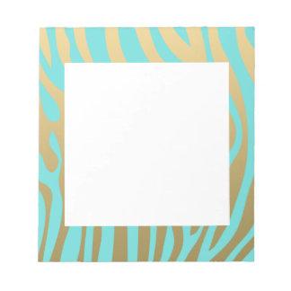 Motif bleu de rayures d'or et de zèbre de Tiffany Bloc-notes
