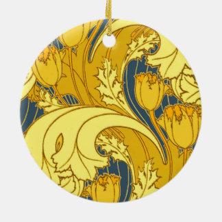 Motif bleu d'illustration d'or de tulipe antique ornement rond en céramique