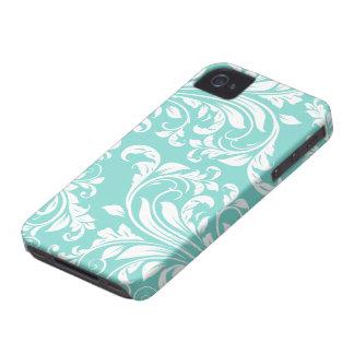 Motif bleu et blanc d Aqua de Damasked Étuis iPhone 4