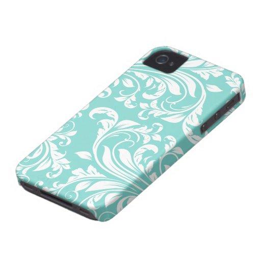 Motif bleu et blanc d'Aqua de Damasked Étuis iPhone 4