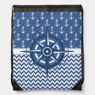 Motif bleu et blanc nautique de Chevron et d'ancre Sacs Avec Cordons