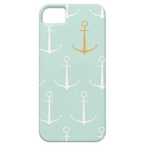 Motif bleu girly de très bon goût d'ancre d'ancres étuis iPhone 5