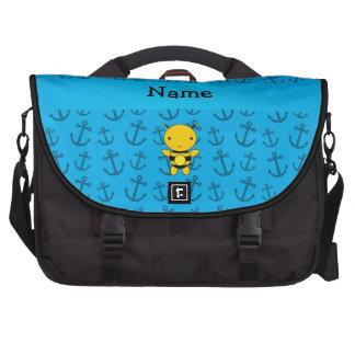 Motif bleu personnalisé d'ancres d'abeille nommée sac pour ordinateurs portables