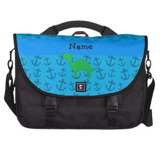 Motif bleu personnalisé d'ancres de dinosaure sacoches ordinateurs portables