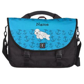 Motif bleu personnalisé d'ancres de joint nommé sacoches ordinateurs portables