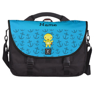 Motif bleu personnalisé d'ancres de poulet nommé sacs ordinateur portable