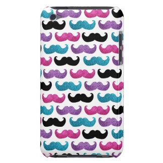 Motif bling coloré de moustache (scintillement de coques iPod touch