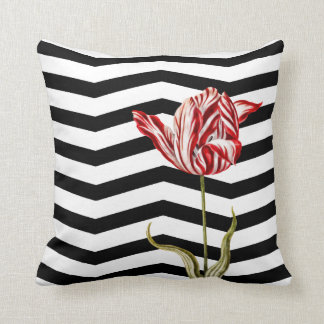 Motif botanique de rayure de Chevron de tulipe Coussin Décoratif