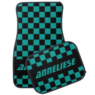 Motif Checkered noir et turquoise de drapeau de Tapis De Sol
