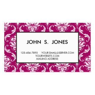Motif classique blanc Rouge-Violet de damassé Modèles De Cartes De Visite
