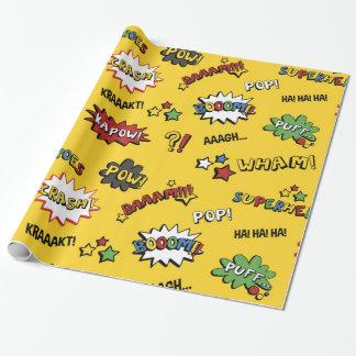 Motif coloré d'amusement de super héros papier cadeau