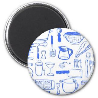 Motif coloré de cuisine magnet rond 8 cm