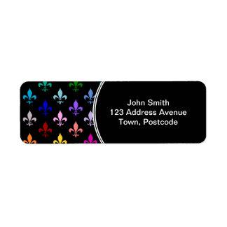 Motif coloré de fleur de lis sur le noir étiquette d'adresse retour
