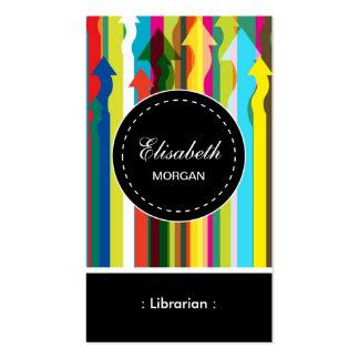 Motif coloré de rayures de bibliothécaire cartes de visite personnelles