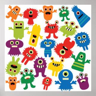 Motif coloré drôle mignon de monstres affiches