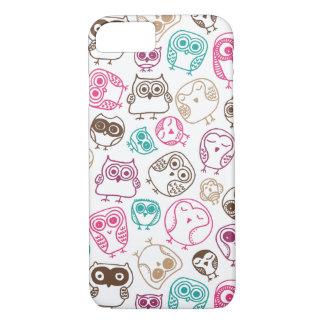 Motif coloré mignon de hibou dans le rose et le coque iPhone 7