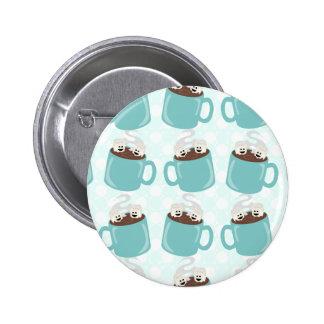Motif de bonheur de chocolat chaud macaron rond 5 cm