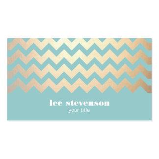 Motif de Chevron de feuille d'or de FAUX et bleu d Modèles De Cartes De Visite