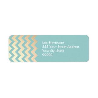 Motif de Chevron de feuille d'or de FAUX et bleu Étiquette D'adresse Retour