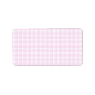 Motif de contrôle de guingan Pâlissez - rose et b Étiquette D'adresse