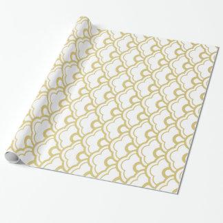 Motif de coquilles cranté par blanc de feuille papiers cadeaux