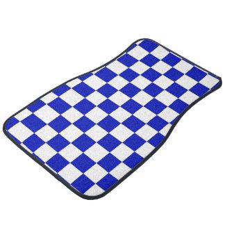 Motif de damier de bleu royal et de blanc tapis de voiture