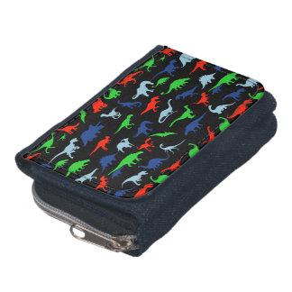 Motif de dinosaure vert-bleu et rouge sur le noir