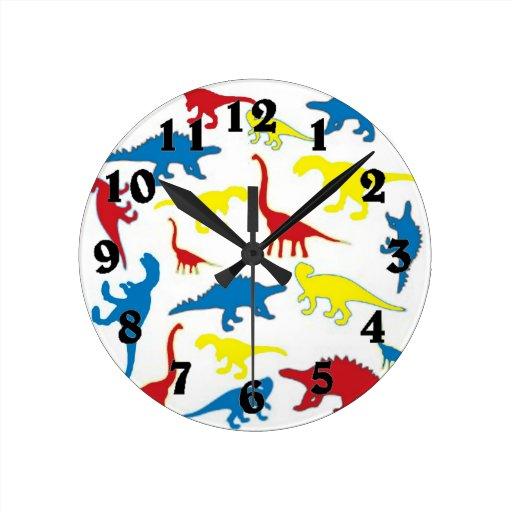 Motif de dinosaures de couleur primaire pendules murales