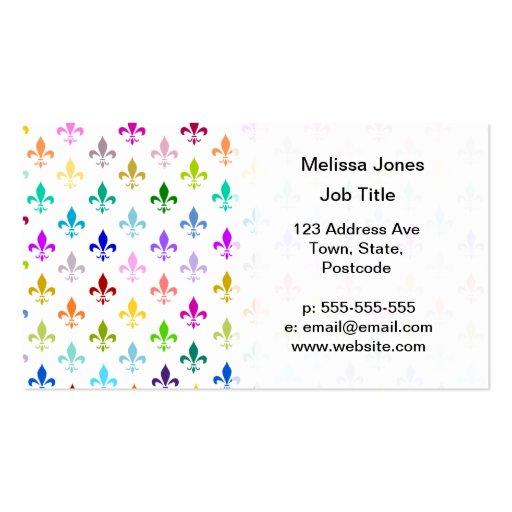 Motif de fleur de lis d'arc-en-ciel modèle de carte de visite