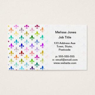 Motif de fleur de lis d'arc-en-ciel cartes de visite