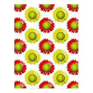 Motif de fleur rouge et jaune du base-ball cartes postales