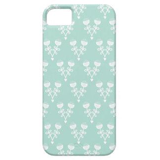 Motif de fleur vintage de pavot de menthe de paste iPhone 5 case