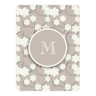 Motif de fleurs bronzage mignon de mod, votre carton d'invitation  13,97 cm x 19,05 cm