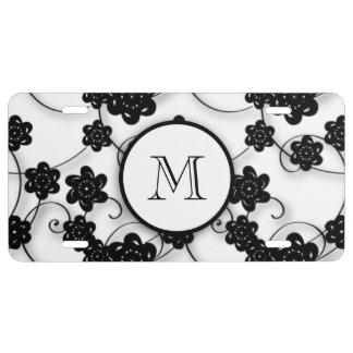Motif de fleurs noir mignon de mod, votre initiale plaque d'immatriculation