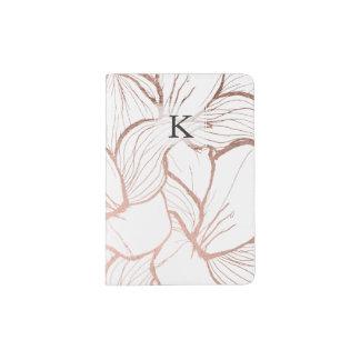 Motif de fleurs rose d'or de faux abstrait moderne protège-passeports