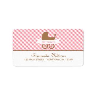 Motif de guingan et voiture d enfant roses mignons étiquette d'adresse