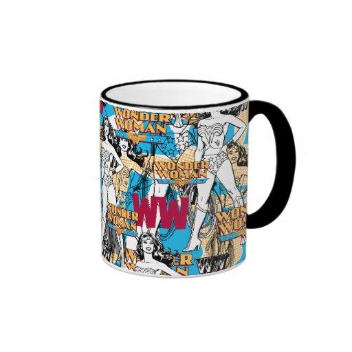 Motif de lancer de femme de merveille mug ringer