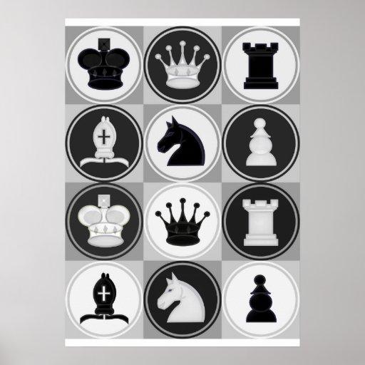 Motif de pièces d'échecs posters