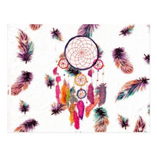 Motif de plumes de Dreamcatcher d aquarelle de hip Carte Postale
