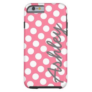 Motif de point à la mode de polka avec le nom - coque iPhone 6 tough