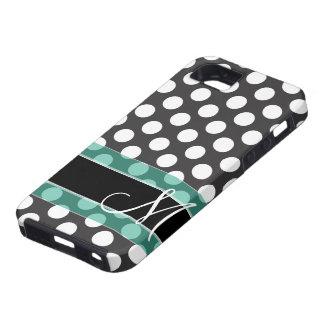 Motif de point de polka avec le monogramme étuis iPhone 5